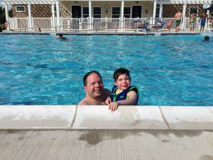 Carter and Dad at the Pool